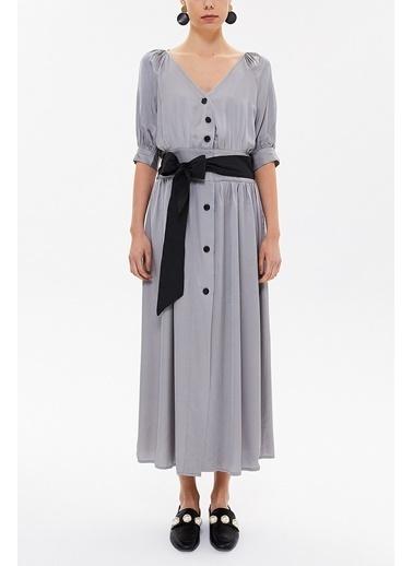 Societa Ve Yaka Uzun Elbise 92761 Gri